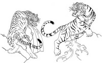 Coloriage anti-stress Japon: Tigres