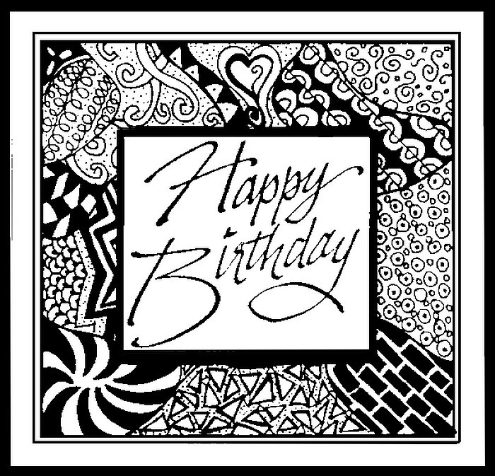 Adult Coloring Page Happy Birthday 1