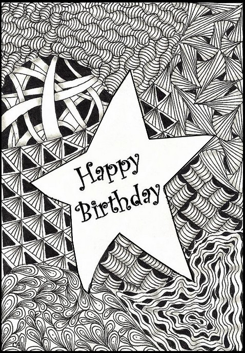 Adult Coloring Page Happy Birthday Star 11