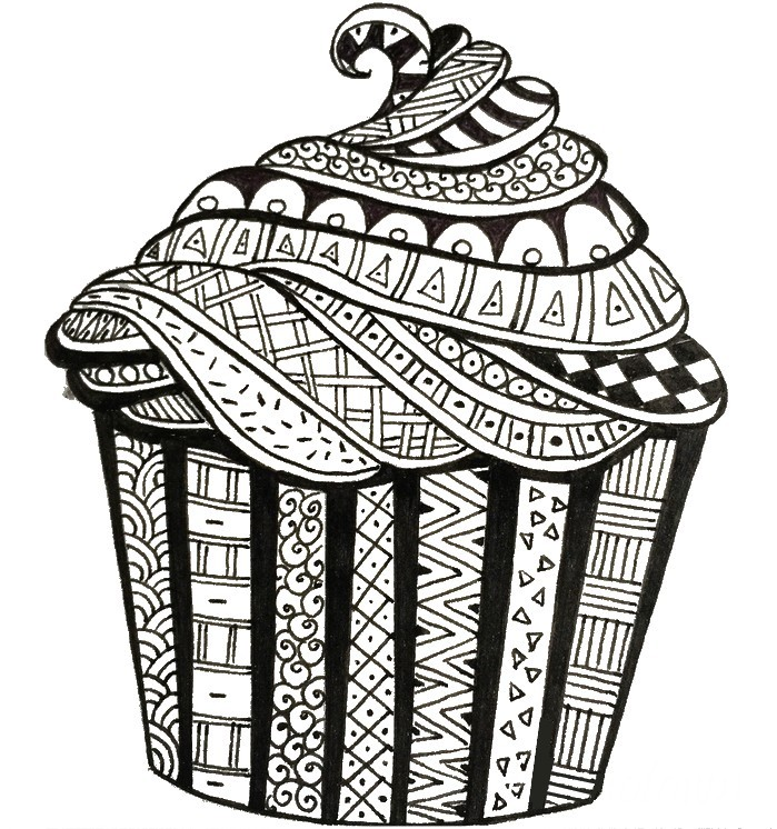 Coloring Pages For Adults Happy Birthday : Adult coloring page happy birthday cake
