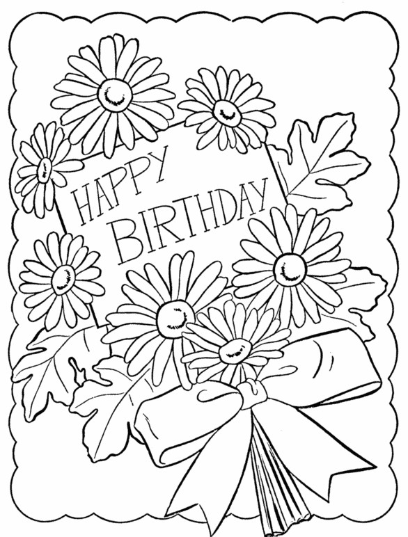 Adult coloring page happy birthday Flowers 7