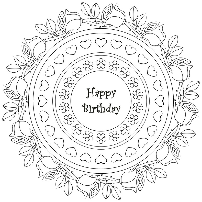 Art Therapy coloring page Happy Birthday : Mandala Happy Birthday 8