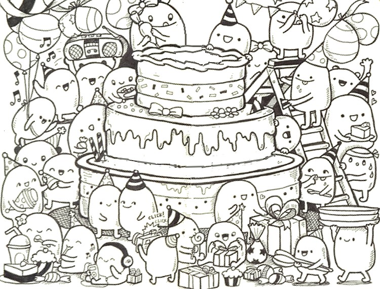 Adult Coloring Pages > Adult Coloring Pages Happy Birthday > Doodle ...