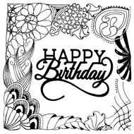 adult coloring page happy birthday happy birthday - Birthday Coloring Pages