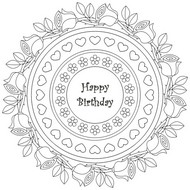 Art Therapy coloring page Mandala Happy Birthday