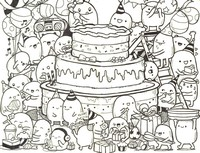 Art Therapy coloring page Doodle cake