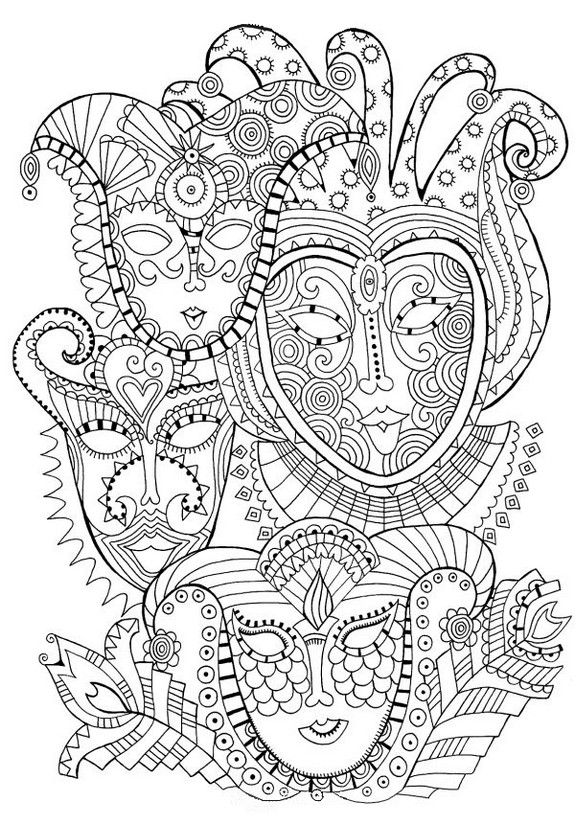 Coloriage Adulte Carnaval Masques De 1
