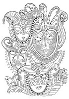 Coloriage adulte Masques de carnaval