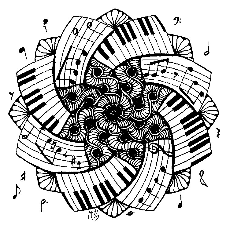 Art therapy coloring page music mandala piano 1 - Coloriage piano ...