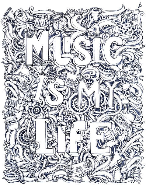 Ausmalen als anti stress musik 12 for Coloring pages of music