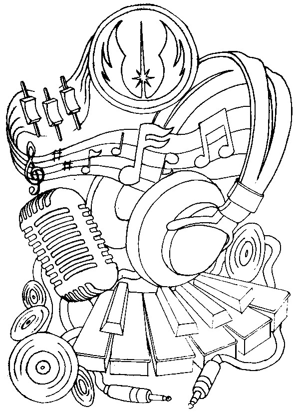 Adult Coloring Page Music Headphones And Microphone 14