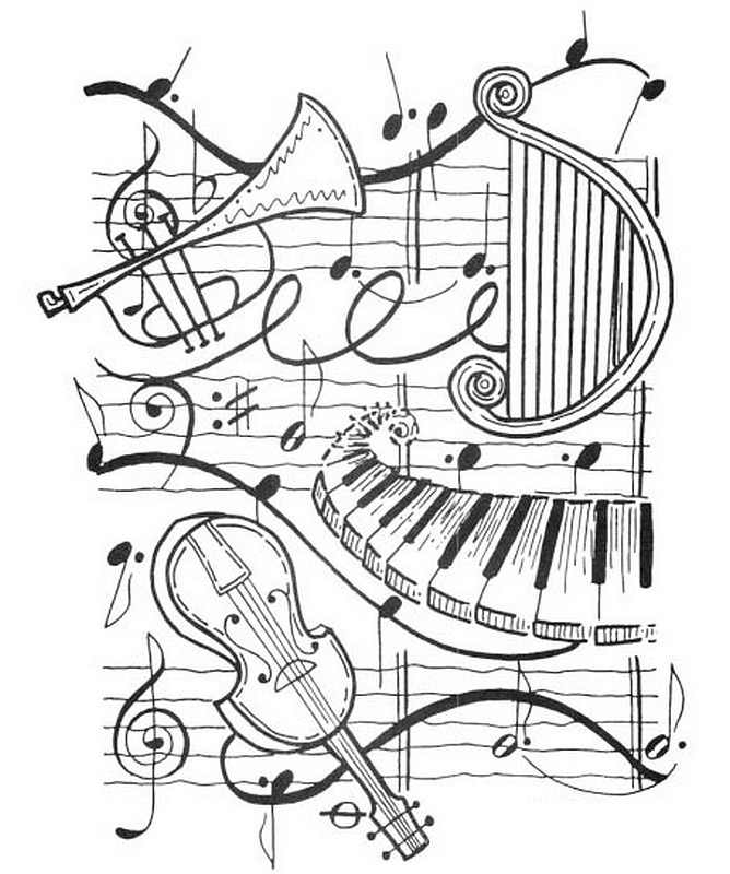 Art therapy coloring page music harp trumpet violin for Coloring pages of music