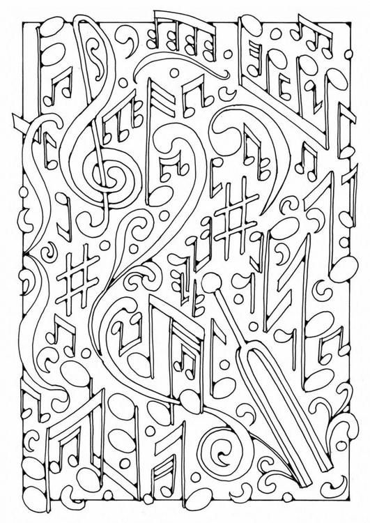 Adult Coloring Page Music Musical Notes 3