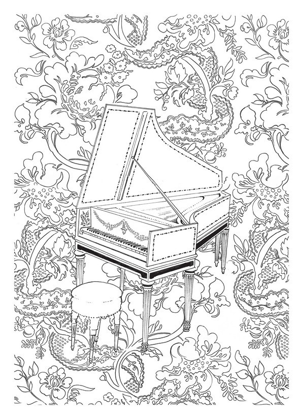 harpsichord more coloring pages music