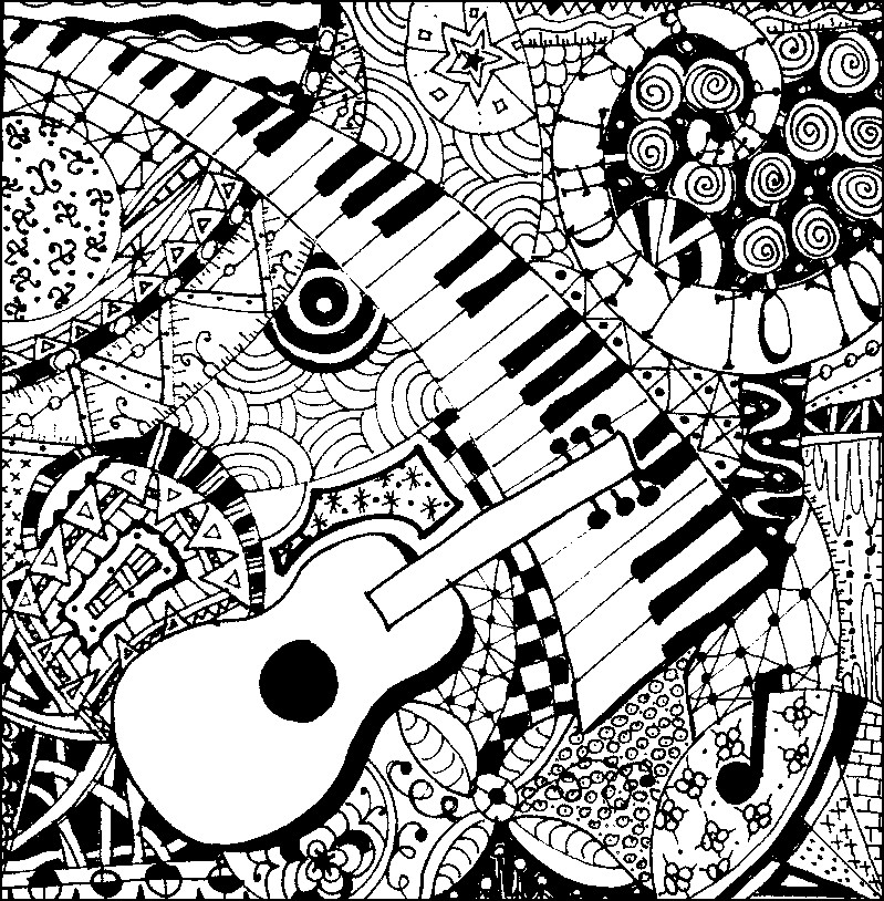 Adult Coloring Page Music Guitar And Piano 5
