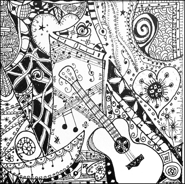 Art Therapy coloring page Music : I like the guitar! 7