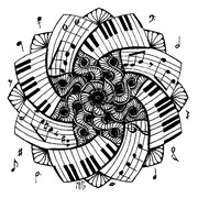 Coloriage anti-stress Mandala Piano