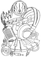 Art Therapy coloring page Headphones and microphone