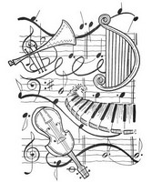 Coloriage adulte Harpe, trompette, violon, piano...