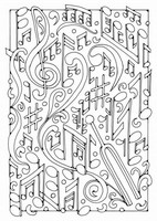 Coloriage adulte Notes de musique