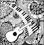 Coloriage adulte Guitare et piano