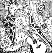 Coloriage adulte J'aime la guitare!
