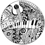 Coloriage adulte Clavier et guitare