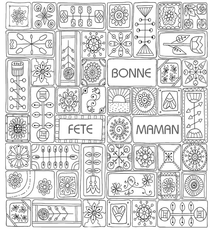 Coloriage anti stress fete des meres carte f te des for Mothers day adult coloring pages