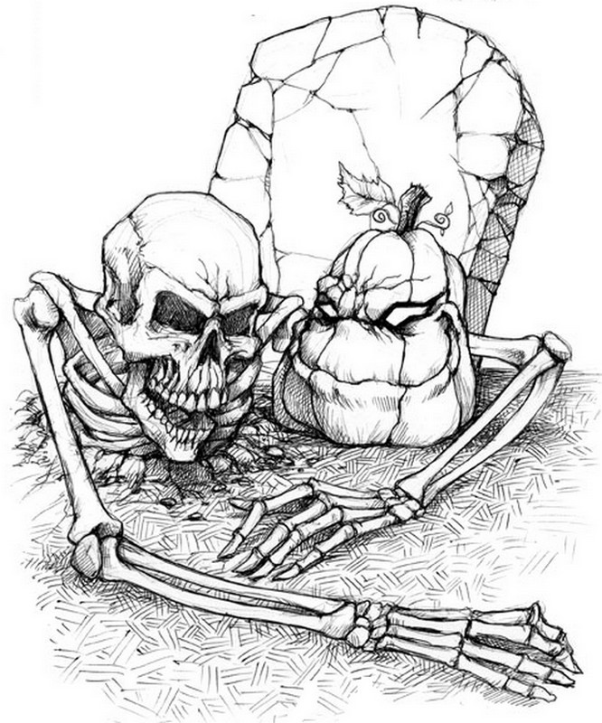 Adult coloring page halloween : Skeleton 11