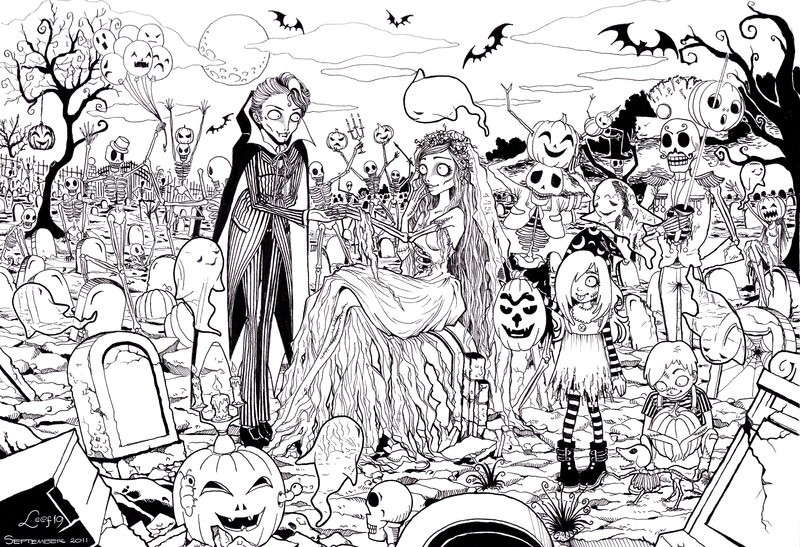 Adult Coloring Page Halloween Zombies 12 Horror Coloring Pages For Adults