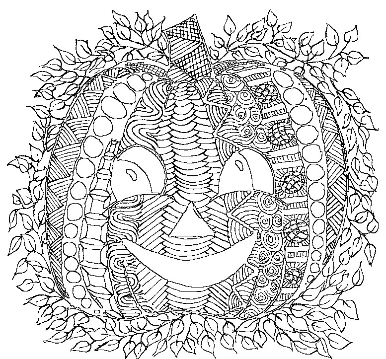 Abstract Halloween Coloring Pages : Coloriage adulte halloween citrouille