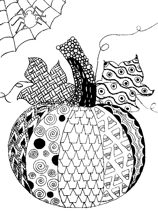 Art therapy coloring page halloween pumpkin halloween 5 for Pumpkin coloring pages for adults