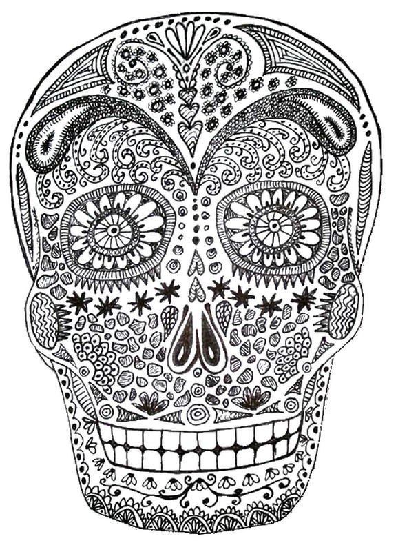 halloween coloring pages adults - art therapy coloring page halloween death 39 s head 6