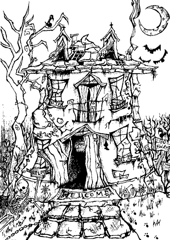 Art therapy coloring page halloween manor house halloween 8 for Halloween coloring pages for adults printables