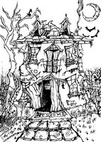 Coloriage adulte Manoir Halloween