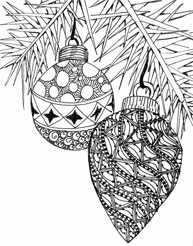 Art therapy coloring page christmas christmas balls 1 for Adult christmas coloring pages