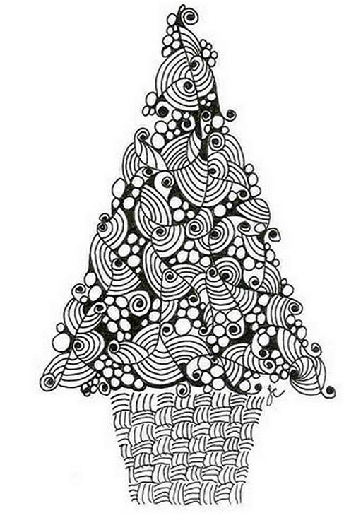 Ausmalen Als Anti Stress Weihnachten Tannenbaum 4