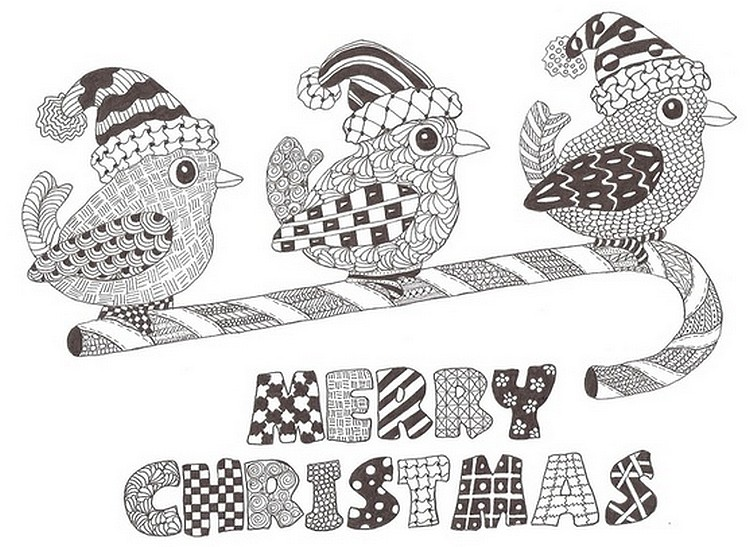 adult coloring page merry christmas