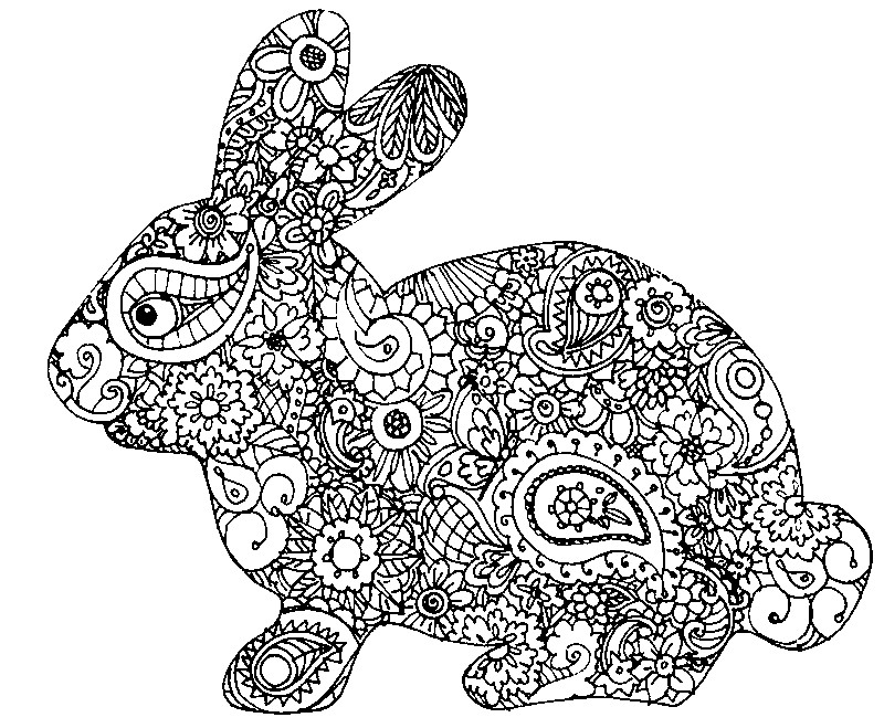 Adult Coloring Pages > Adult Coloring Pages Easter > Rabbit of Easter