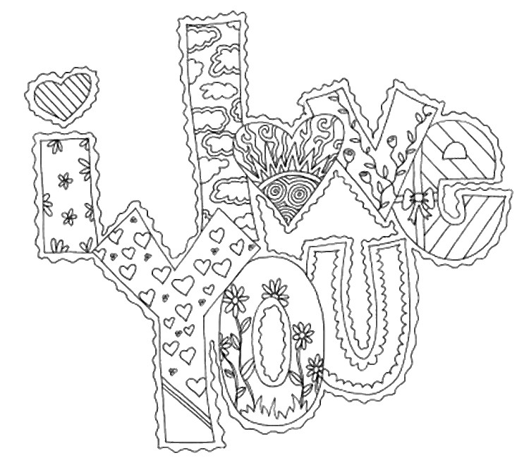 I Love You Coloring Pages Pdf : Adult coloring page love i you