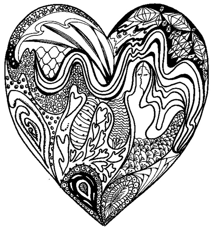 Art therapy coloring page love valentine 39 s day 2 for Love mandala coloring pages
