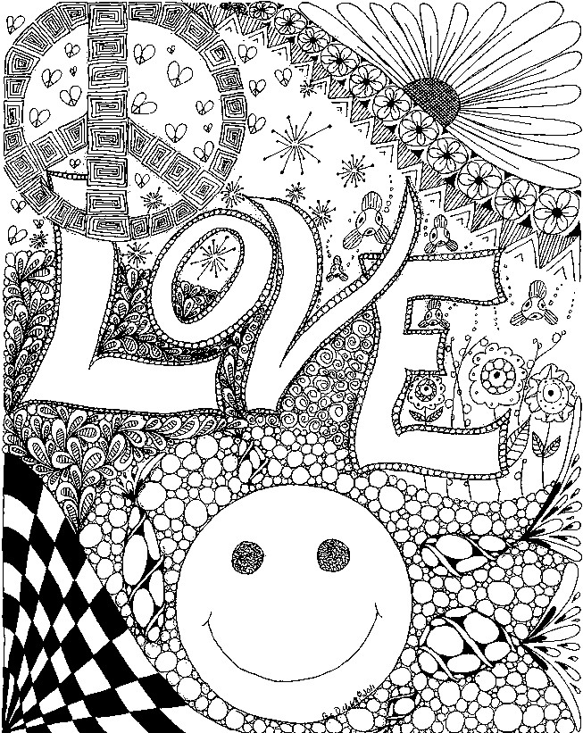 Coloriage anti stress amour love 4 - Mandala amour ...