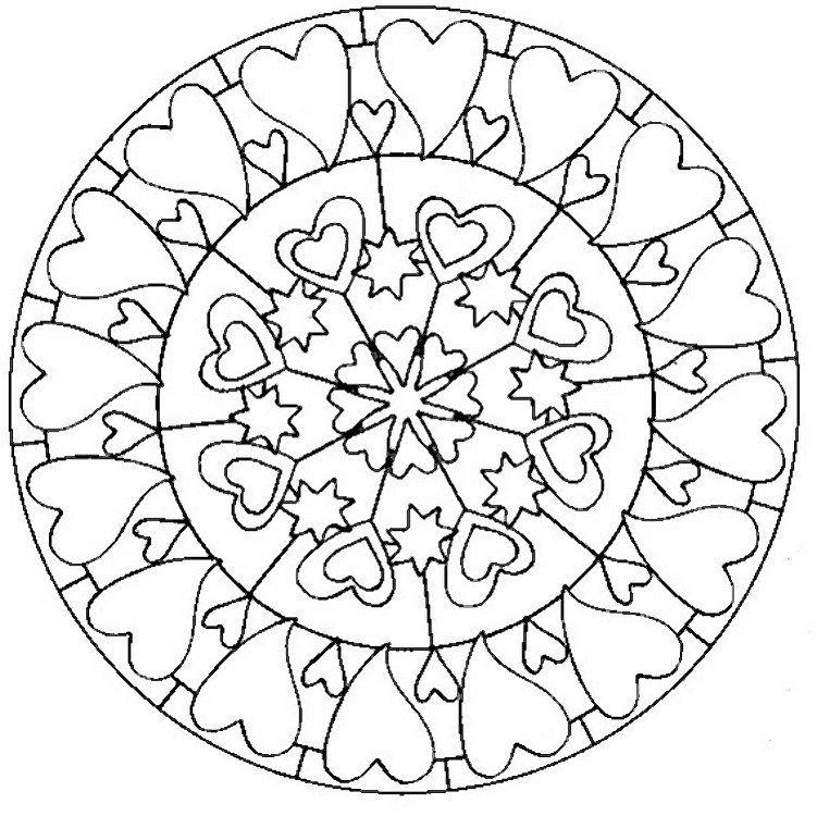 Art therapy coloring page love mandala with hearts 5 for Love mandala coloring pages