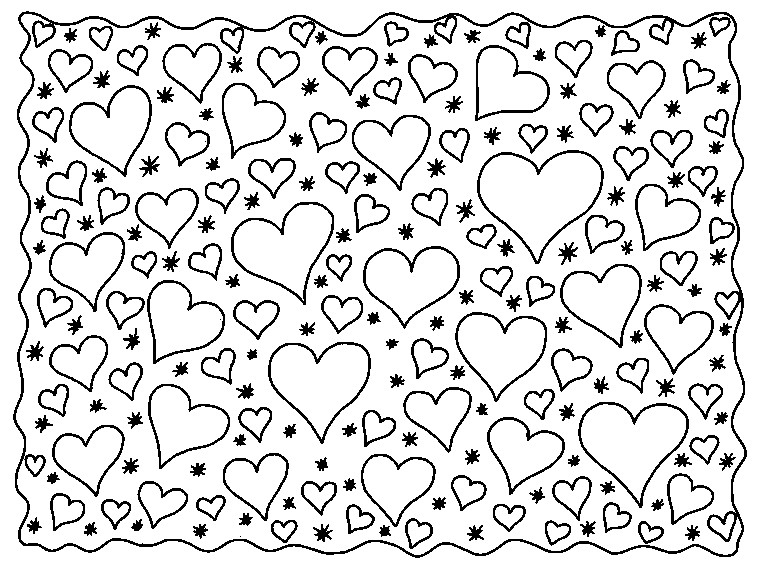 art therapy coloring page love   hearts 6
