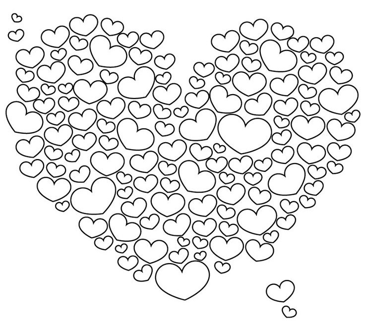 Adult Coloring Page Love Cloud Of Hearts 8