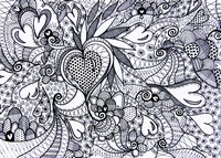 Adult coloring page Hearts