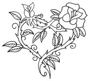 Art Therapy coloring page Tattoo: heart and rose