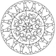 Adult coloring page Mandala with hearts