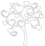 Adult coloring page Tree of hearts