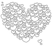 Adult coloring page Cloud of hearts